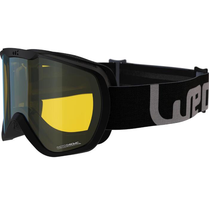 Skibrille Snowboardbrille G 500 Photochrom Allwetter Kinder/Erwachsene schwarz