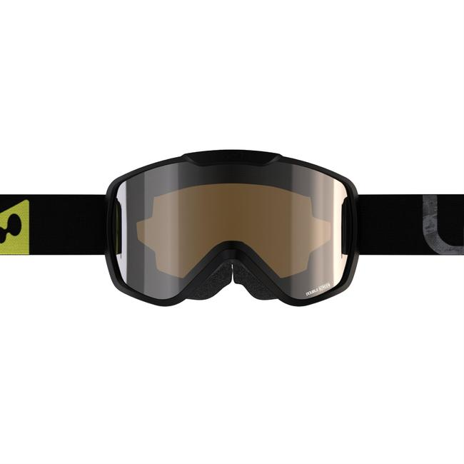 KID'S AND ADULT'S SKIING AND SNOWBOARDING GOGGLES G500 GOOD WEATHER - BLACK