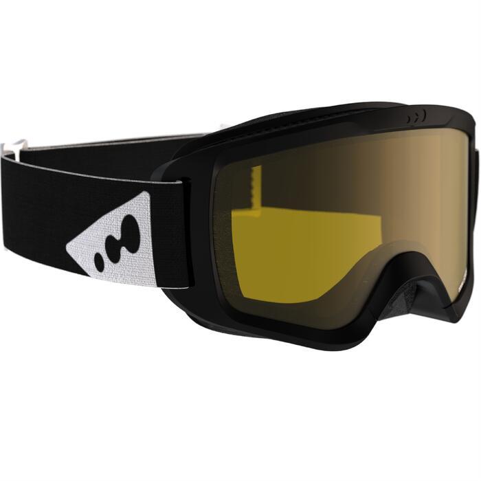 Ski- en snowboardbril voor heren Snow 300 bewolkt weer zwart - P