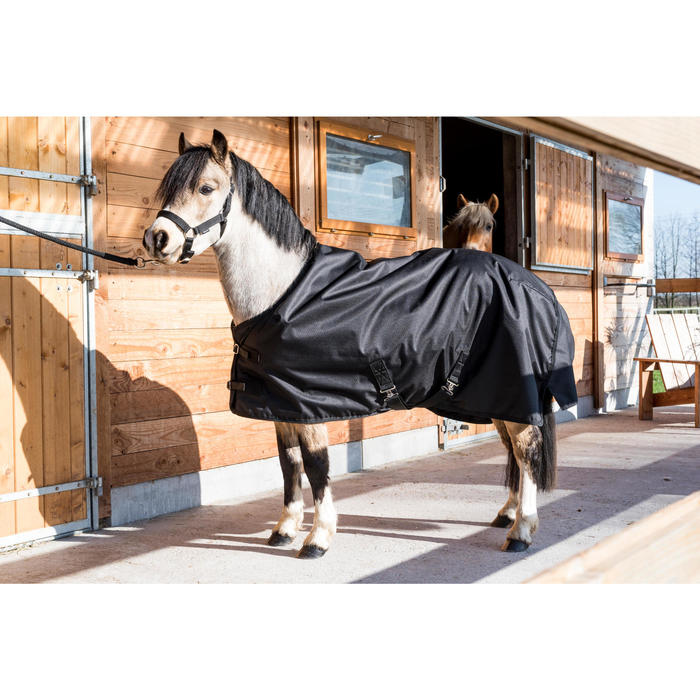 Couverture extérieur imperméable équitation poney IMPER 200 600D noir - 1178156