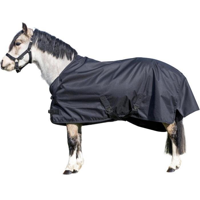Couverture extérieur imperméable équitation poney IMPER 200 600D noir - 1178166