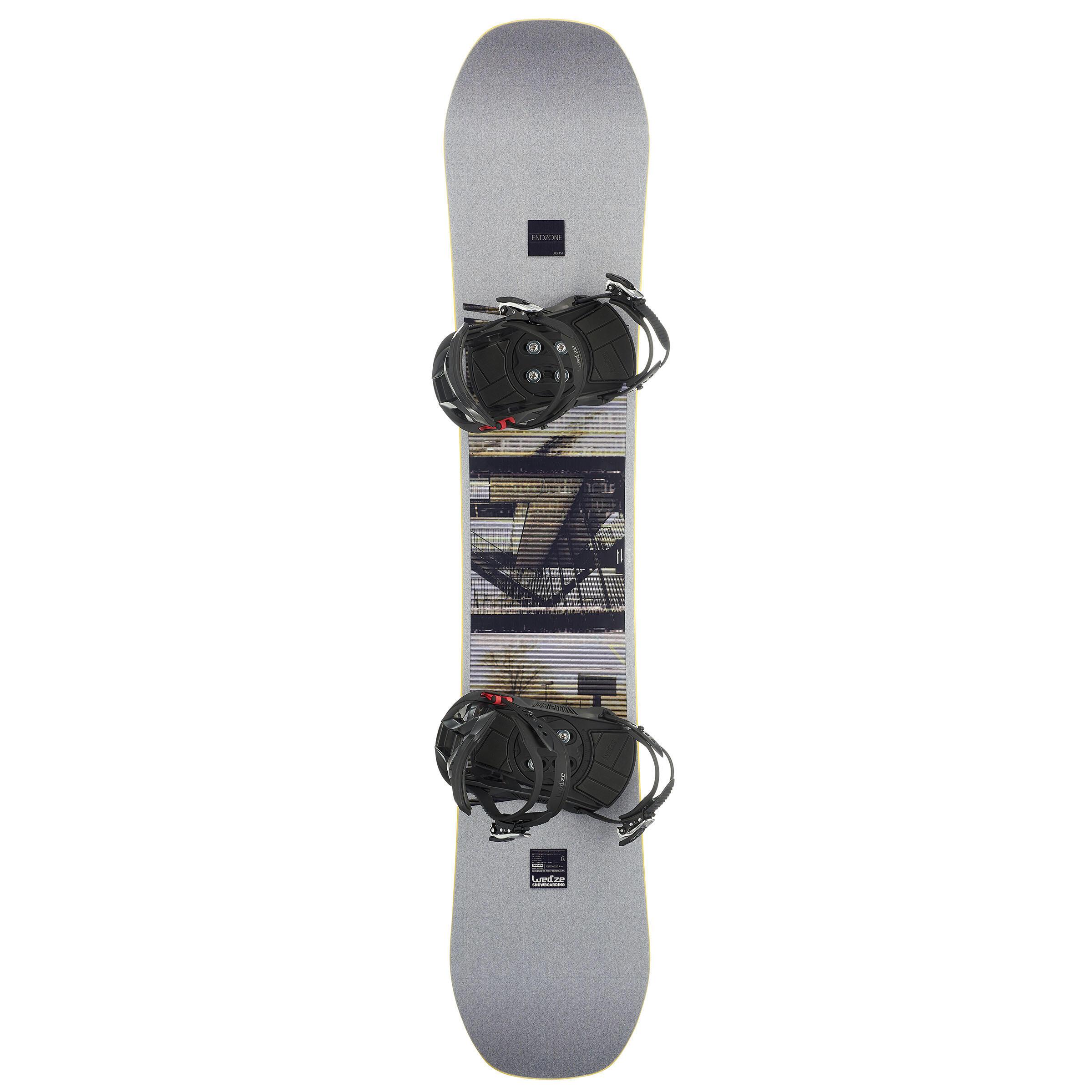 Damen,Herren Snowboard-Set End Zone 500 Jib Freestyle Piste grau | 03608449876322