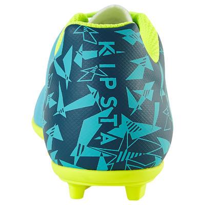 Chaussure de football enfant terrains secs CLR 500 FG bleue jaune fluo