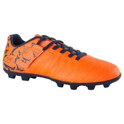Botas de fútbol niños terrenos secos Agility 300 FG tira autoadh. naranja azul