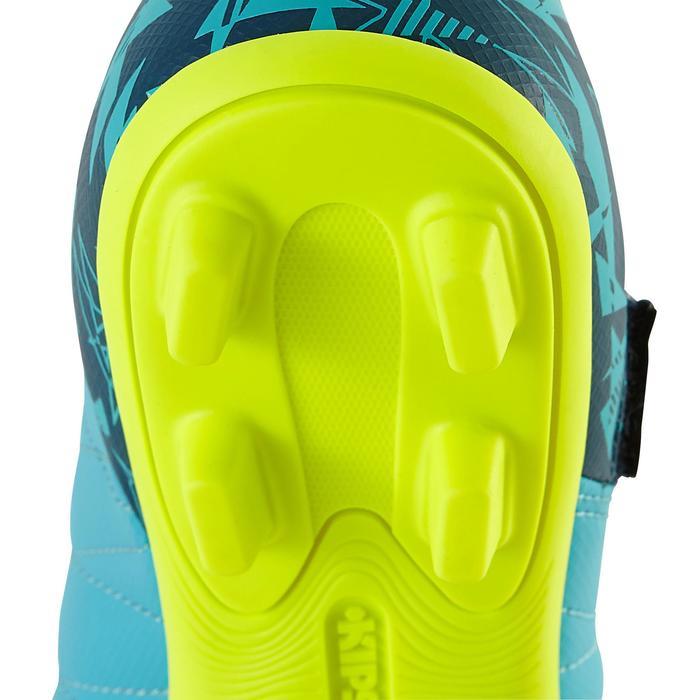 Chaussure de football enfant terrains secs Agility 300 FG à scratch bleue jaune