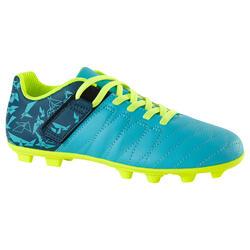 Voetbalschoenen Agility 300 FG droog terrein kinderen klittenband blauw geel