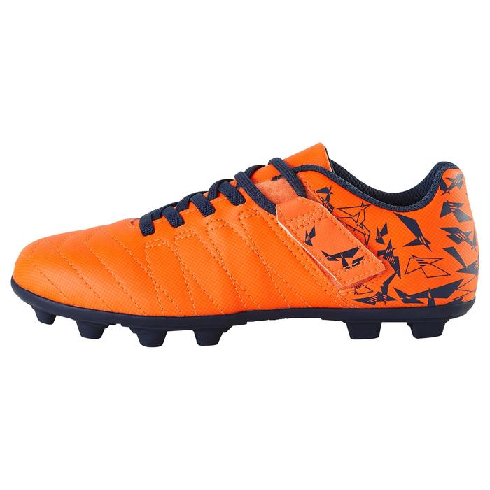 Chaussure de football enfant terrains secs Agility 300 FG à scratch orange bleue