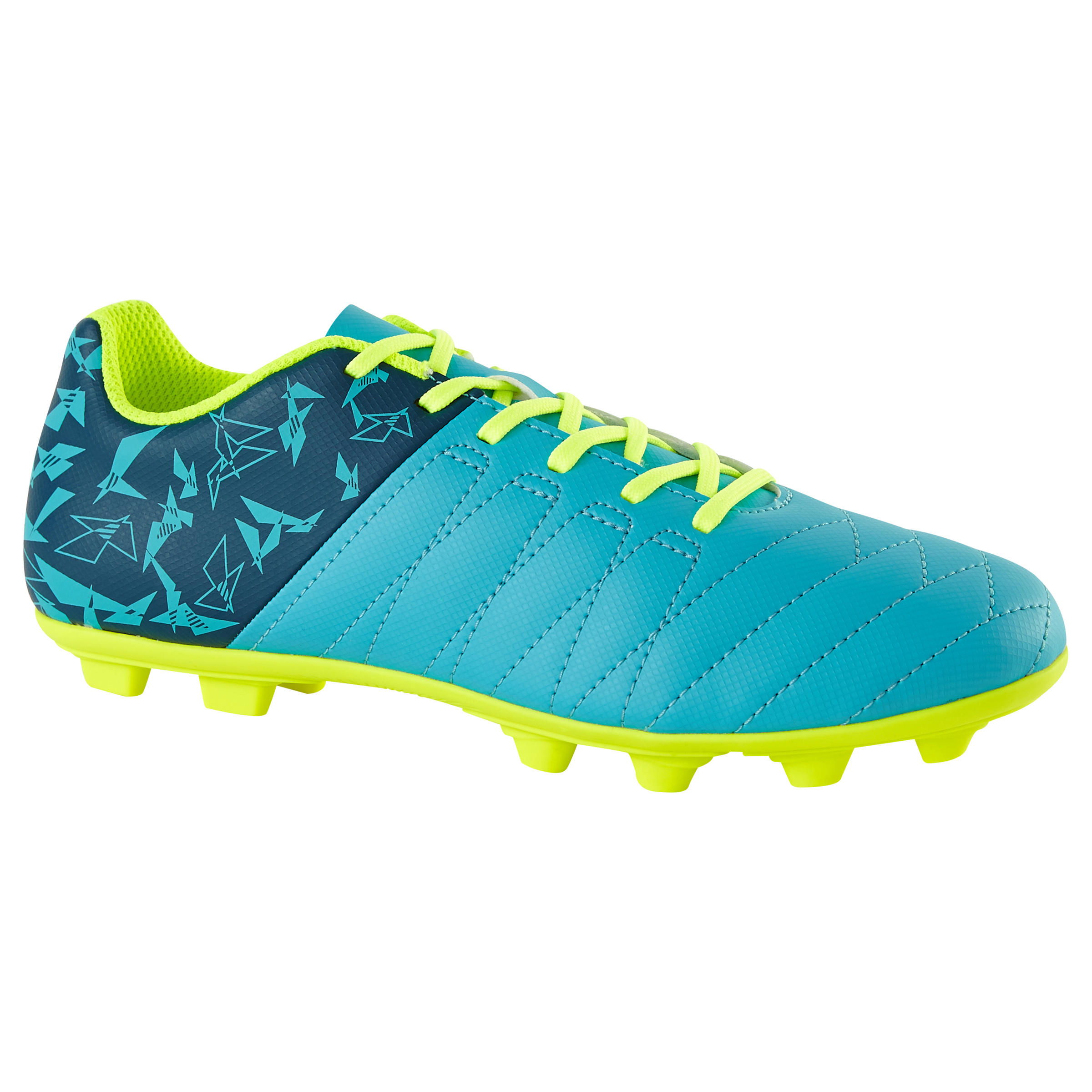 CLR 500 FG Kids' Dry Pitch Soccer Cleats- Blue/Neon Yellow