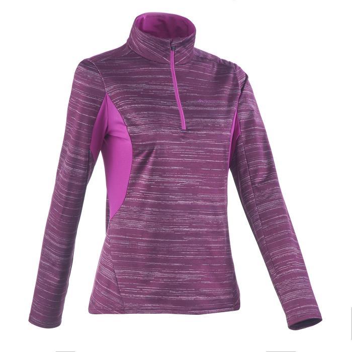 Tee-shirt de randonnée neige manches longues femme SH500 warm violet