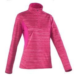 女款保暖長袖雪地健行T恤SH500-粉紅色