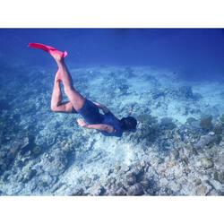 Shorty de snorkel 2 mm 100 mujer gris rosa