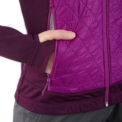 Hybride fleece damesjas voor wandelen in de sneeuw SH900 X-warm paars