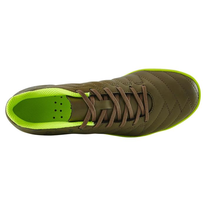 Chaussure de football enfant terrains durs CLR 500 HG kaki jaune fluo