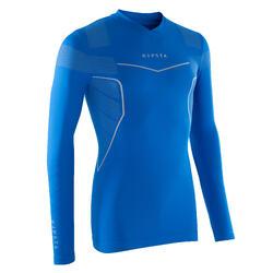 Ondershirt met lange mouwen voetbal voor volwassenen Keepdry 500 blauw