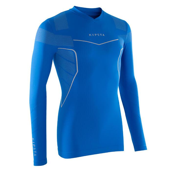 Ondershirt met lange mouwen voetbal voor volwassenen Keepdry 500 felblauw