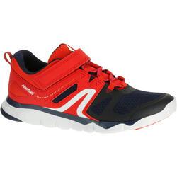 Zapatillas de Marcha Deportiva Newfeel PW 540 niño azul marino y rojo