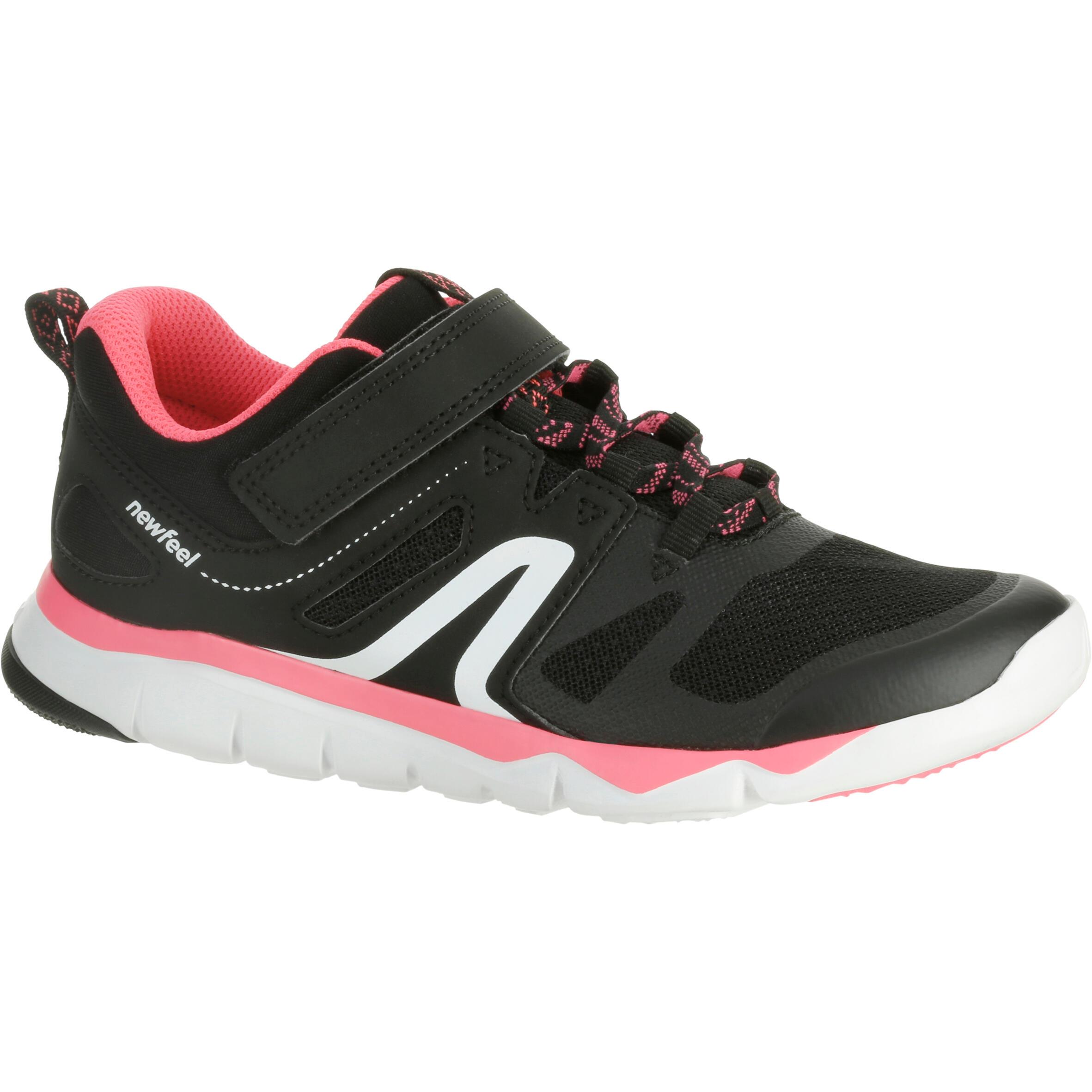 Tenis de caminata deportiva para niños PW 540 negro / rosa