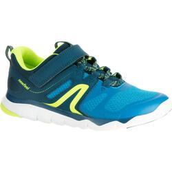 Zapatillas de Marcha Deportiva Newfeel PW 540 niño azul y amarillo limón