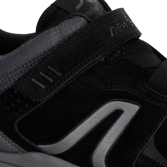 Herensneakers voor sportief wandelen HW 140 strap leer zwart