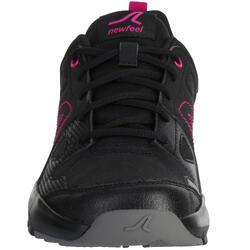 Zapatillas de marcha deportiva para mujer HW 100 negro / rosa