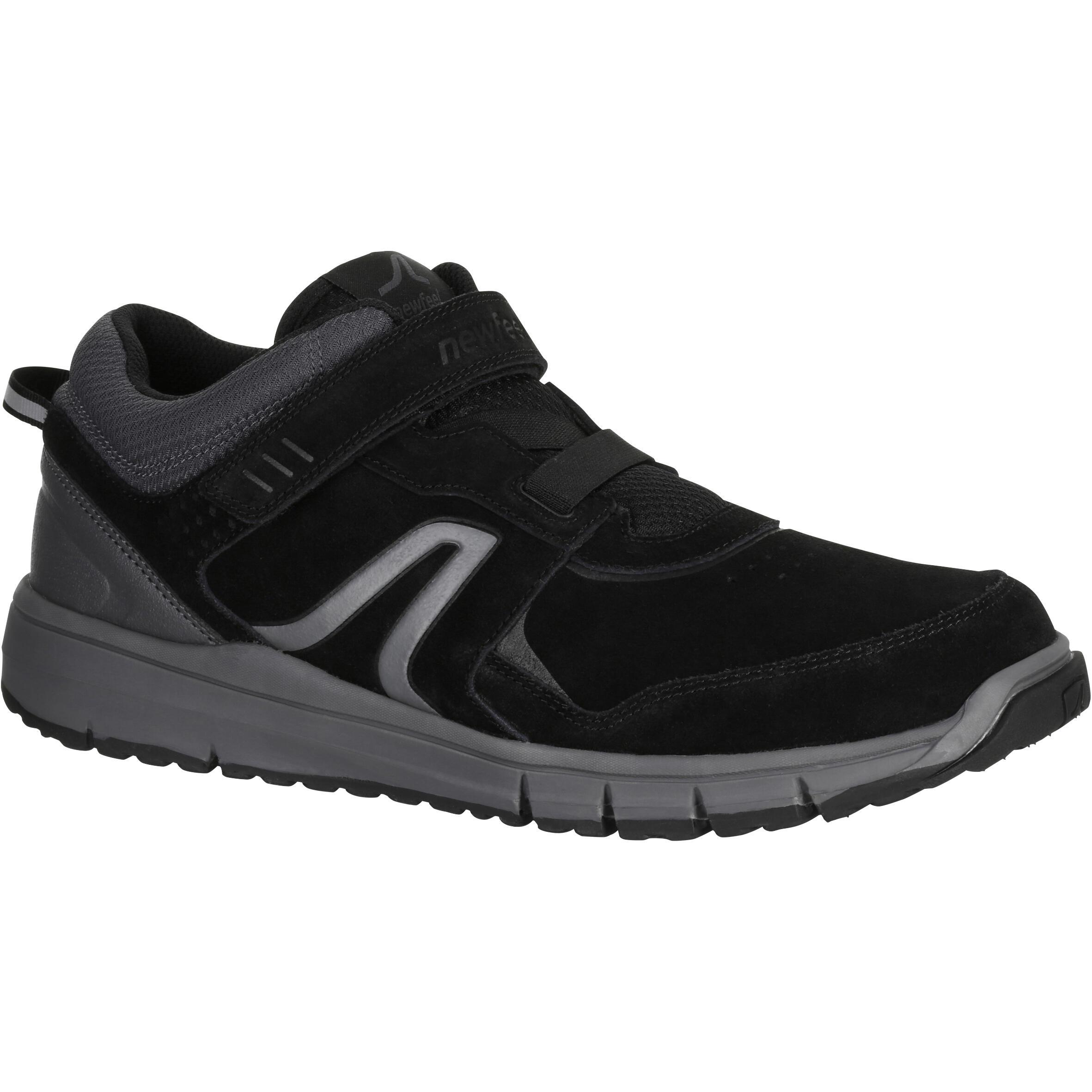 Newfeel Herensneakers voor sportief wandelen HW 140 strap leer zwart