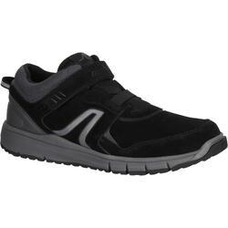 HW 140 男款彈性支撐皮面健走鞋- 黑色皮革