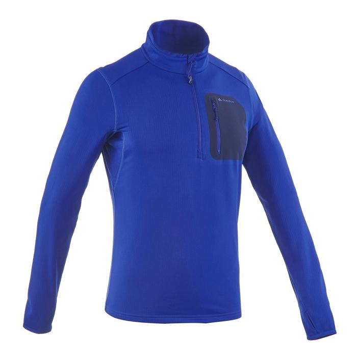 Tee-shirt de randonnée neige manches longues homme SH500 warm bleu