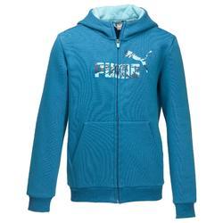 Molton hoodie met rits voor jongens blauw