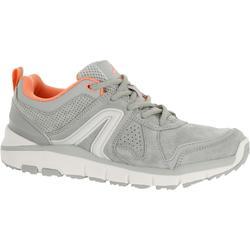 HW 540 女士皮革製健走運動鞋 - 灰色/粉色。