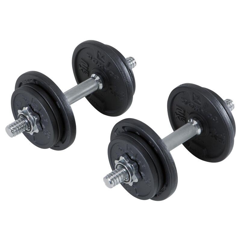 Kit haltères musculation 20 kg filetées