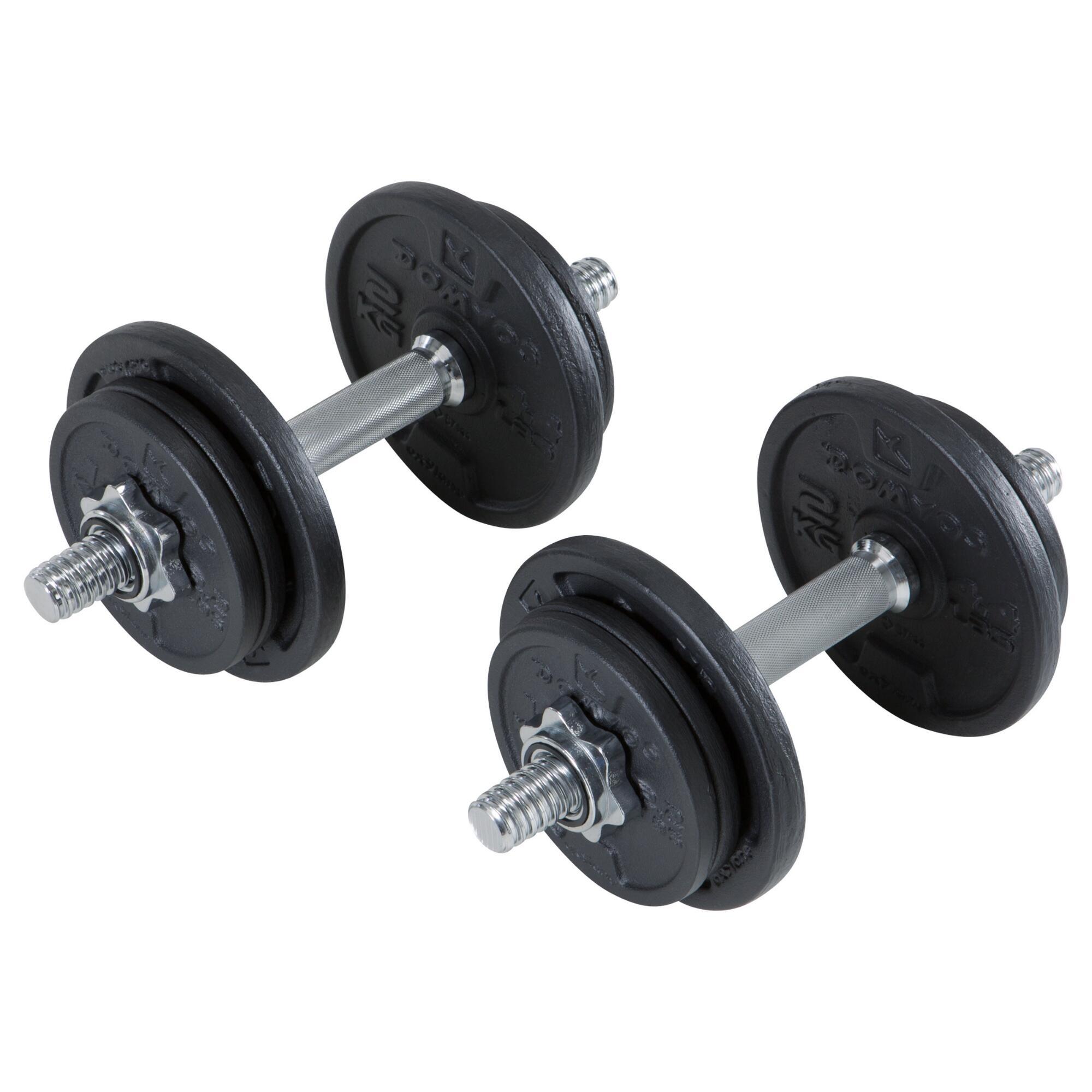 Kurzhantelset 10kg Kurzhantel Hantel Gewichte Guss 10 Kg Fitness Domyos