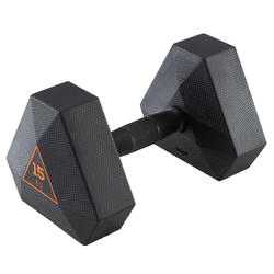 Mancuerna Hexagonal Dumbbell Cross Training Musculación Domyos 15 Kg Negro