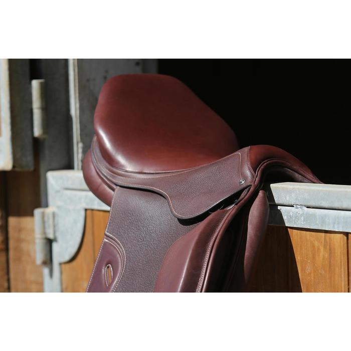 """Selle polyvalente en cuir à arçon réglable équitation cheval PADDOCK 17""""5 - 118321"""