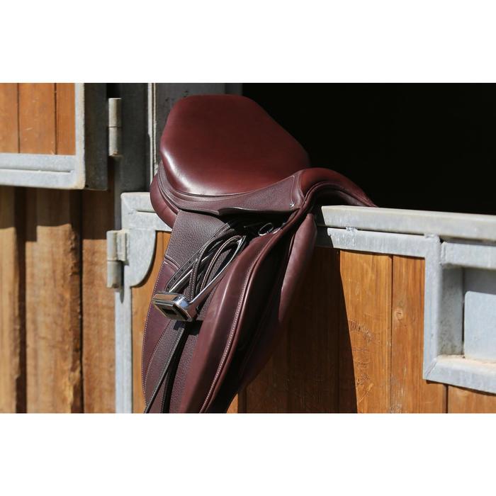 """Selle polyvalente en cuir à arçon réglable équitation cheval PADDOCK 17""""5 - 118323"""