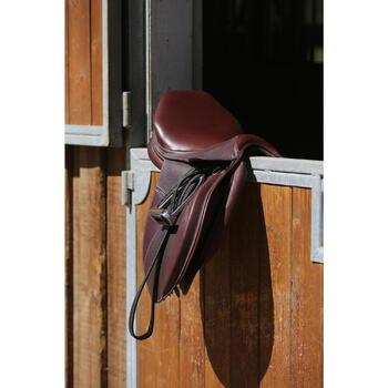"""Selle polyvalente en cuir à arçon réglable équitation cheval PADDOCK 17""""5 - 118324"""