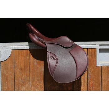 """Selle polyvalente en cuir à arçon réglable équitation cheval PADDOCK 17""""5 - 118330"""