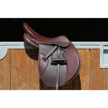 """Selle polyvalente en cuir à arçon réglable équitation cheval PADDOCK 17""""5 - 118332"""