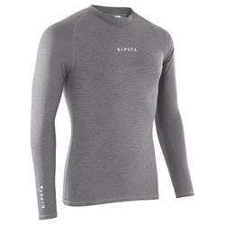 Thermoshirt Keepdry 100 met lange mouwen volwassenen gemêleerd grijs
