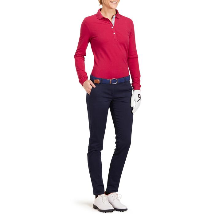 POLO MANCHES LONGUES GOLF FEMME 500 FRAMBOISE