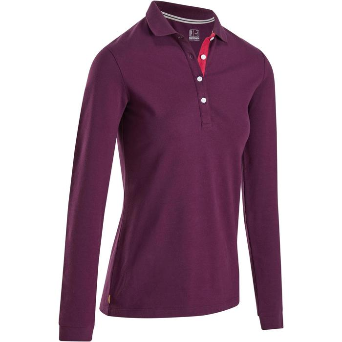 POLO MANCHES LONGUES GOLF FEMME 500 VIOLET