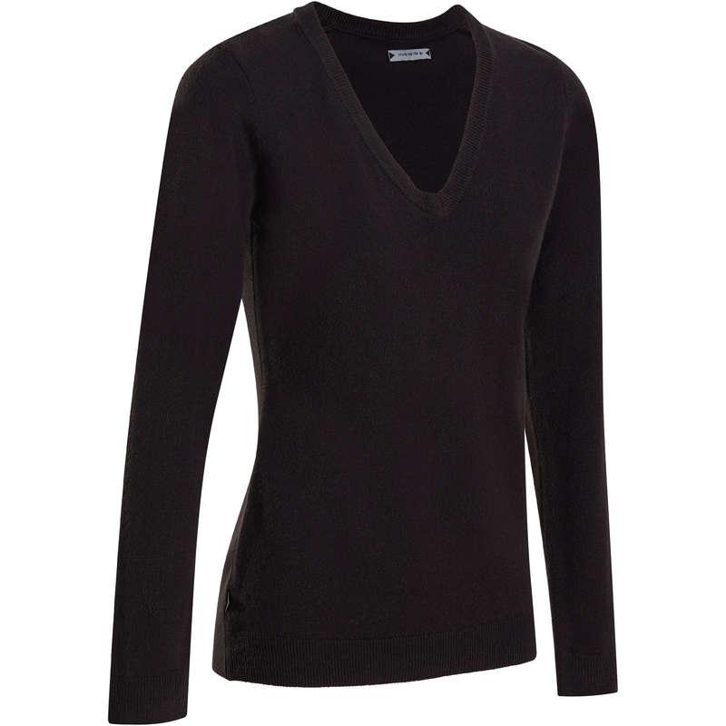 WOMENS MILD WEATHER GOLF CLOTHING - 100 V NECK GOLF LADIES SWEATER - BLACK INESIS
