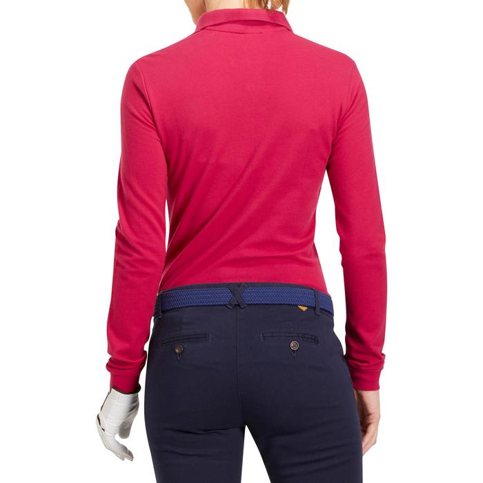 Golfpolo 500 met lange mouwen voor dames framboos