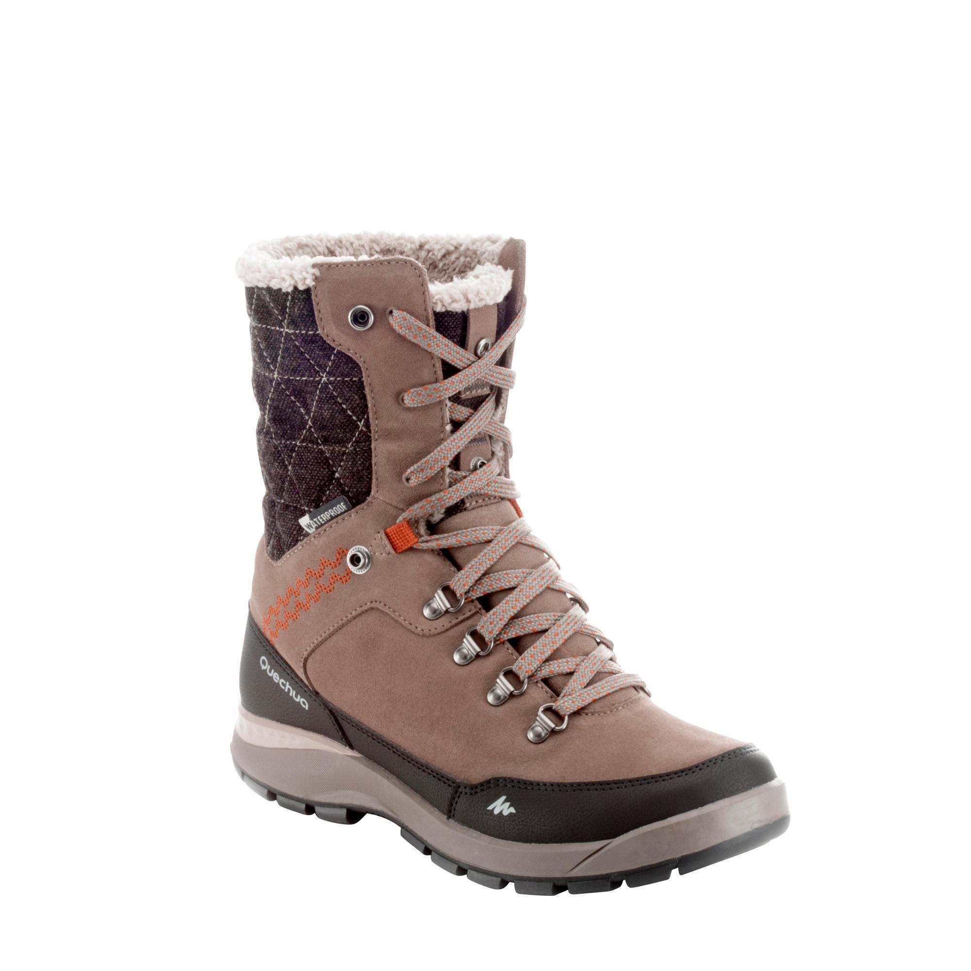 chaussures de randonn e neige femme sh500 tige haute chaude imperm ables orange quechua. Black Bedroom Furniture Sets. Home Design Ideas