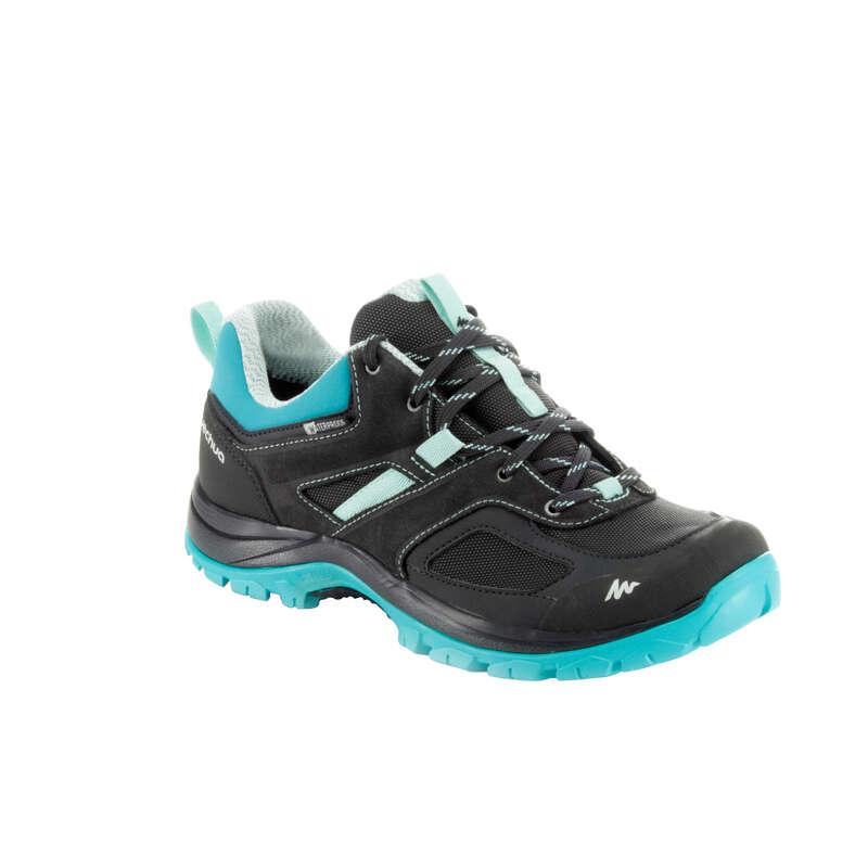 WOMEN MOUNTAIN HIKING SHOES Hiking - MH100 WOMEN'S WATERPROOF WALKING SHOES - BLACK/TURQUOISE QUECHUA - Outdoor Shoes