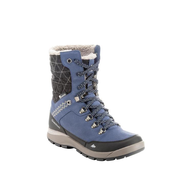 Chaussures de randonnée neige femme SH500 tige haute chaude et imperméables Bleu