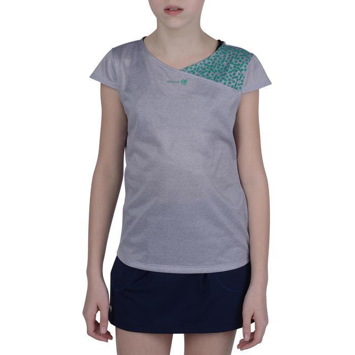 T-shirt Soft meisjes grijs/groen 500 tennis/badminton/tafeltennis/padel/squash