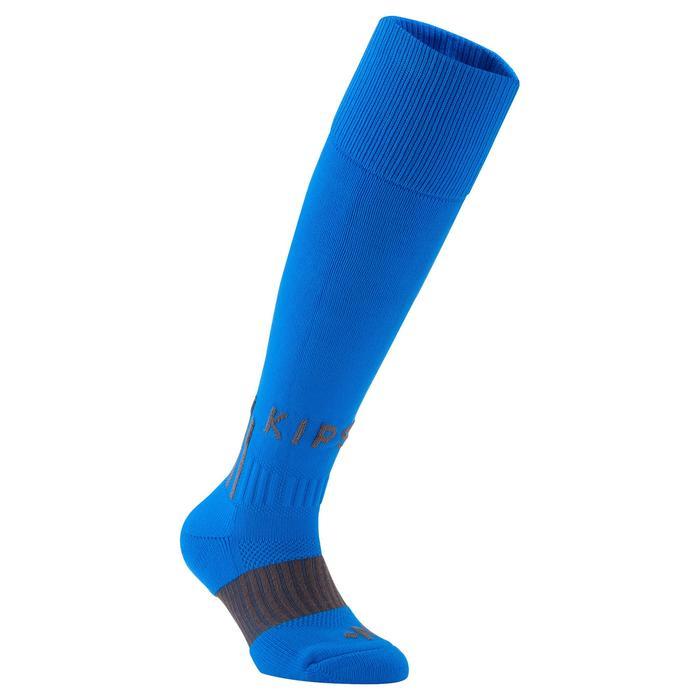 Chaussettes hautes de football enfant F500 bleues grises