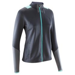 T500 女性足球訓練運動夾克 - 灰色/薄荷綠