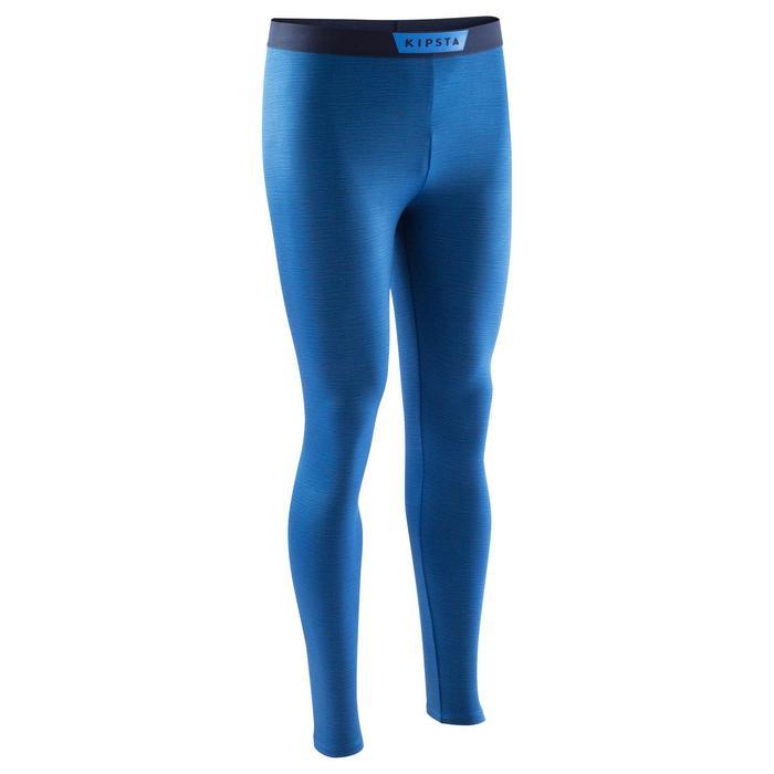 成人款足球緊身褲Keepdry 100-石灰藍