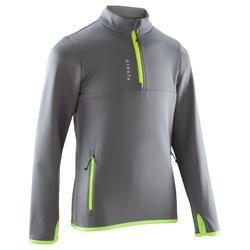 T500 Kids' Football Training Half-Zip Sweatshirt - Light Grey